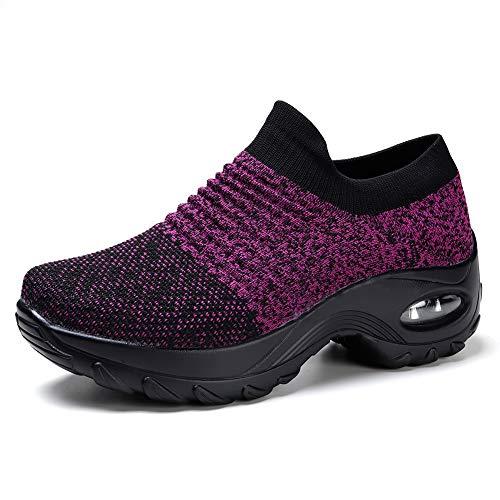 HKR Sneaker Damen Turnschuhe Leichte Sportschuhe Violett/Schwarz, 40 EU