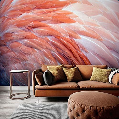 Papel pintado de foto personalizado nórdico 3D flamenco pluma mural pinturas dormitorio sala de estar sofá Fondo decoración del hogar revestimiento de paredes-250X200CM