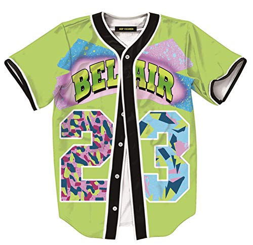 HOP FASHION Womens 80s 90s Theme Party Baseball Jersey Short Sleeve Button Tops Tee Shirts HOPM007-Lime Green-S