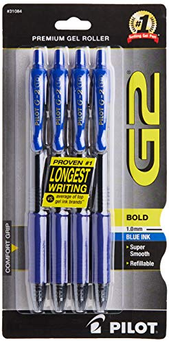 PILOT G2 Premium Refillable & Retractable Rolling Ball Gel Pens, Bold Point, Blue Ink, 4-Pack (31084)