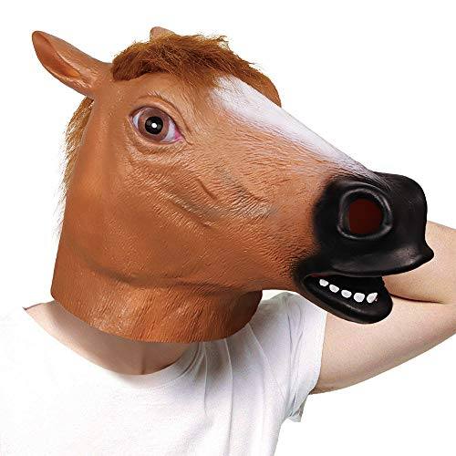 molezu Látex máscaras Marrón Caballo Cabeza Animal para Super Creepy Halloween Fiesta Disfraz Adulto.