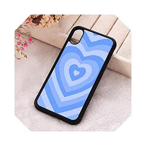 5 5S SE Funda de teléfono para iPhone 6 6S 7 8 Plus X Xs XR 11 12 Mini Pro Max goma silicona estética azul Latte Heart-para iPhone SE 2016