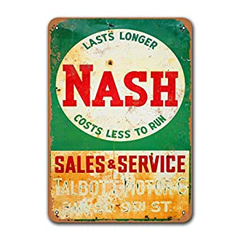 Sisoso Bar Poster Nash Sales and Service Restaurant Wall Decor Tin Signs Cars Metal Vintage Grage Man Cave Sgins Coffee Club Game Room Dorm 8x12 inches