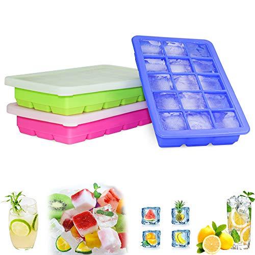 GoZheec Eiswürfelform, große Silikon Eiswürfelbehälter mit Deckel, BPA-Frei Für Große Eiswürfel (3 .5 * 3 .5 * 3cm)(Schwarz-2) (3 PACK)