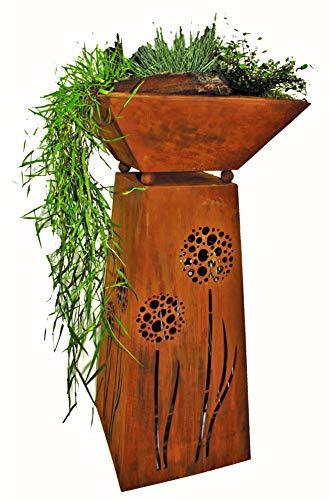 Rostikal | Gartendeko Rost Säule und Pflanzschale | Gartendeko rostoptik für drinnen und draussen | Höhe 72 cm
