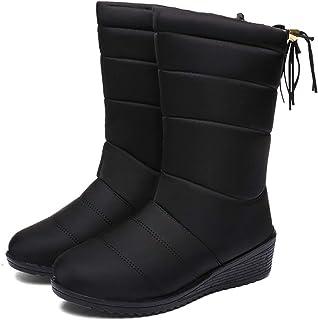 Botas de Nieve Zapatos Mujer,Popoti Botas de Nieve Calientes Botines Forradas Cortas Cuña Boots Medias Borla Zapatos Invie...