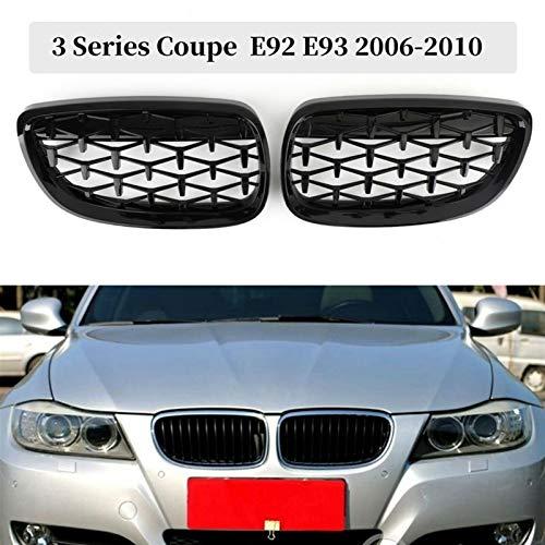 XCVUISDFJK Accesorios y molduras de PartsPar de Coche. Parrilla Frontal de riñón, Capucha Frontal Diamond Grille Meteor Grill Fit para BMW 3 Series Coupe E92 E93 M3 2006-2010 (Color : Black)