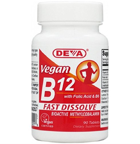 Deva Vegan Vitamin B-12 Fast Dissolve Lozenges 90 Tablets (2 Pack)