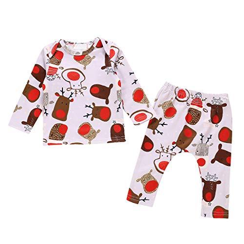 Conjuntos Bebé Niña 2pcs Navidad Conjunto Ropa Bebe Unisex Recien Nacido Invierno Pijama 0-24 Meses Niños Alce...