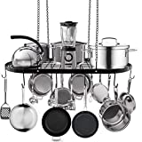Hanging Pot and Pan Rack, Ceiling Mount Cookware Pan Rack Hanger Organizer with 10 Pot Hooks for Home, Kitchen Cookware, Restaurant (33 inch)
