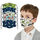 5 Pcs Big Kids Bandana with Cute Pattern Reusable Cloth Dinosaur Kids Face Mask Bandanas Covering Set for Teens Boys Girls Ages 6-16