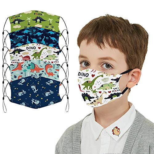 5 Pcs Big Kids Bandana with Cute Pattern Reusable Cloth Kids Face Mask Bandanas Covering Set for Teens Boys Girls Ages 6-16 (Dinosaur)