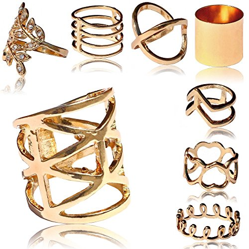 tumundo® Statement-Ring | Set oder Einzeln |Dame Ringset Golden Fingerspitzen-Ring Obergelenk-Ring Knuckle Vintage Boho, Variante:Alle Modelle