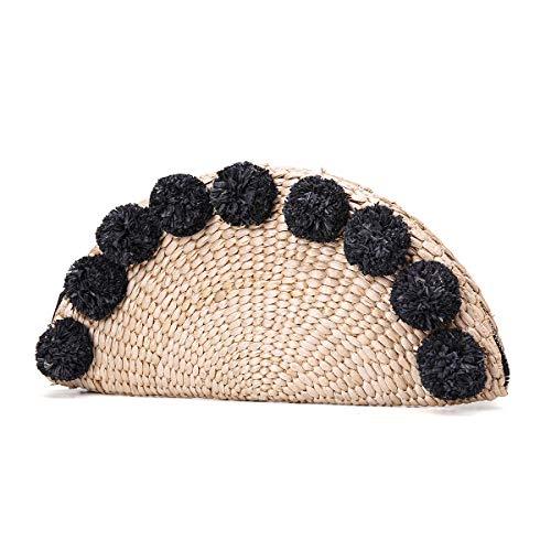 Sac à Main en Paille d'Été JOSEKO Sac en Paille en Forme de Coquillage Pochette d'Été Noir Noir