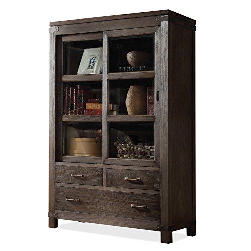 Hot Sale Riverside Furniture Promenade Sliding Door Bookcase in Warm Cocoa