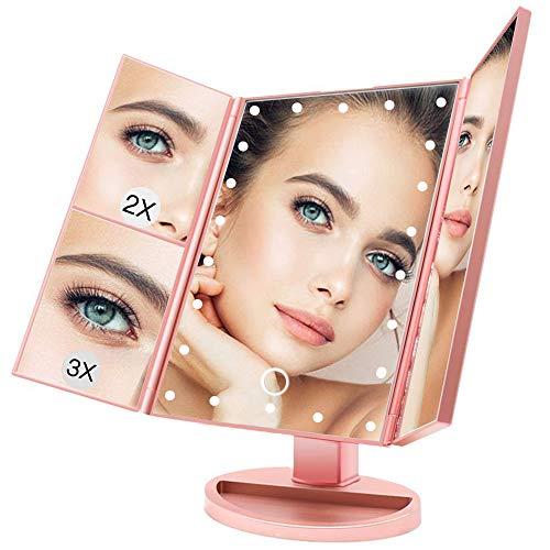 BUDDYGO Schminkspiegel, 3 Seiten Kosmetikspiegel Tischspiegel mit 21 LED Licht, Beleuchteter Schminkspiegel mit 2X und 3X Vergrößerungsspiegel, Touch Beleuchtung, Dimmbare Helligkeit