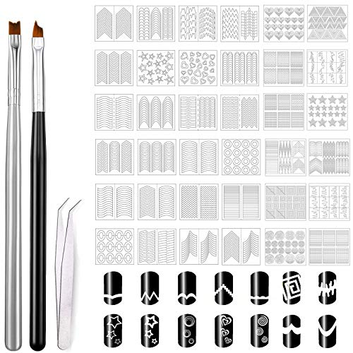 MWOOT 1275 Pegatina Uñas French, con 2 Pinceles Uñas para Nail Art Ombre Gradient French Stil, Pegatinas Manicura Francesa Calcomanías Autoadhesivas, Nail Art French Tip Form Guides Stickers