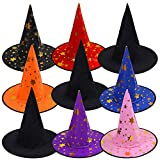 Aneco 9 Pieces Novelty Halloween Witch Hat Halloween Witch Costume Accessory for Halloween Cosplay Favors or Party Yard Decoration