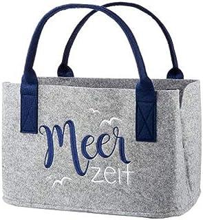 Handwerk Filztasche grau mit Schriftzug Meerzeit bestickt Shopper Einkaufstasche 40x26x24cm