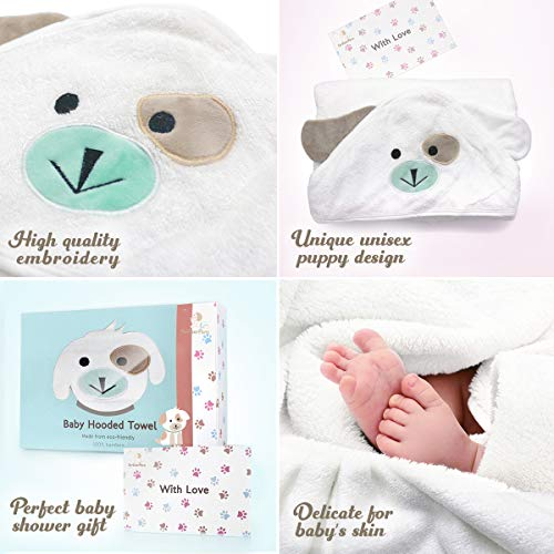 FOREVERPURE Baby Hooded Towel 100% Organic Bamboo Cotton, Super Absorbent, for Boys and Girls. Super Soft, X-Large, 35 x…