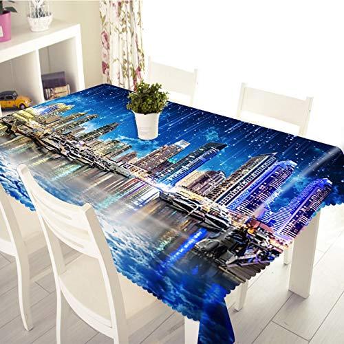 Rubyia Mantel rectangular de tela, protector de mesa City Riverside Night View, poliéster, 140 x 180 cm, color azul
