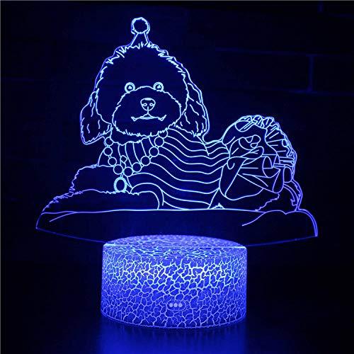 Luz de noche LED 3D para niños y adultos, lámpara de noche LED regulable para perro, lámpara de noche de 16 colores que cambia con control remoto, regalo de cumpleaños para niños y adultos