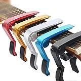 JEZOMONY Capo de guitare, guitare acoustique universelle, guitare électrique, basse électrique, ukulélé, capo de guitare en métal à une main, coussin en silicone, non nocif, cinq couleurs (pack de 5)