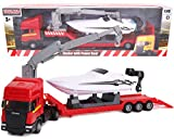TOYLAND - Scania Flatbed Hauler Transporter Truck con Power Boat - Escala 1:48 - Fundición a presión - Rueda Libre (Camión Rojo)