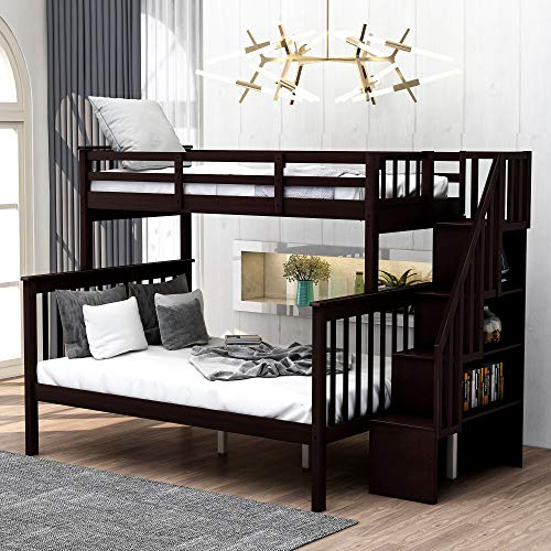 Hinpia Twin Over Full Bunk Bed, Solid Wood Bunk Beds with Stairs, Storage and Guard Rail for Bedroom, Dorm, for Kids, Adults(Espresso)