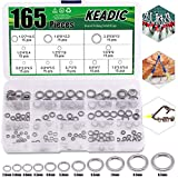 Keadic 165Pcs Stainless Steel Fly Fishing Trout Fishing Line Tippet Leaders Assortment Kit, 11 Different Sizes