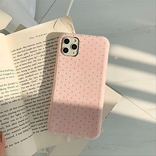 Funda de teléfono de Punto de Onda de Cuero de Gamuza de Moda para iPhone 11 Pro MAX Funda para iPhone 7 8 6 6S Plus XR XS MAX Funda Suave de Felpa Linda para iPhone 8Plus Rosa