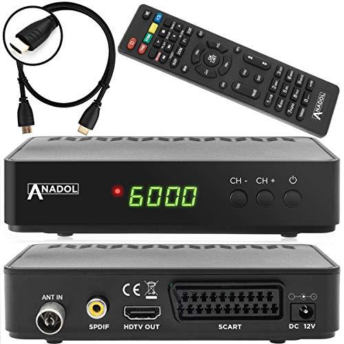 Anadol HD 202c + digitaler Full HD Kabel Receiver für digitales Kabelfernsehen (HDTV, DVB-C / C2, HDMI, SCART, Mediaplayer, USB 2.0, 1080p) [automatische Installation] inkl. HDMI Kabel - schwarz