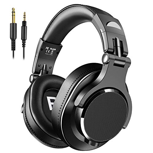 Bopmen Over Ear Headphones - Wired Studio Headphones with Shareport, Foldable Headsets with Stereo Bass Sound for Monitoring Recording Keyboard Guitar Amp DJ Cellphone, Black