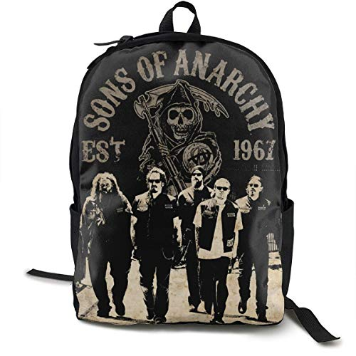 ASKSWF School Backpack, Classic Sons of Anarchy Backpack for Men Women Fits 15 Inch Laptop Casual Daypack for Teenagers Bookbag