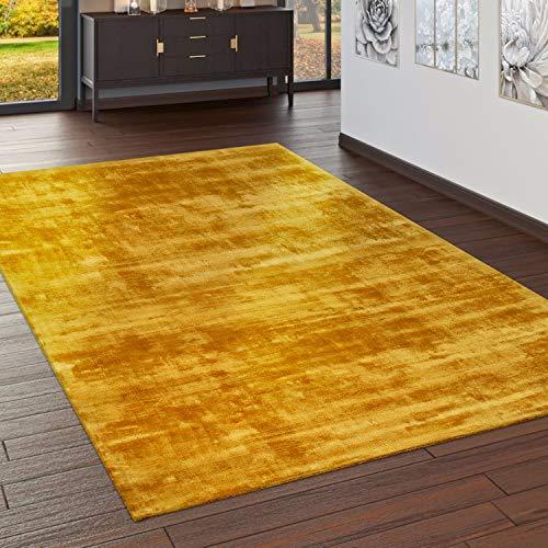 Paco Home Teppich Handgefertigt Hochwertig 100{20207067a84cfb6caec4a4fbd4d9055ed12dde4ef180704bbabd749fb8c3d23e} Viskose Vintage Trend Farbe Gelb, Grösse:80x150 cm