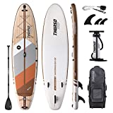THURSO SURF Tabla de paddle surf inflable SUP All-Around SUP 335 x 81 x 15 cm riel de carbono Waterwalker Deluxe Paquete - Pala de eje de carbono | Mochila con ruedas | Bomba de doble cámara | Correa