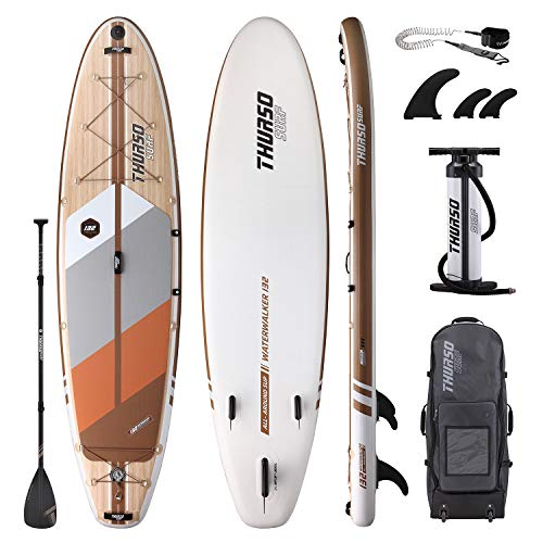 THURSO SURF Tabla de paddle surf inflable SUP All-Around SUP 335 x 81 x 15 cm riel de carbono Waterwalker Deluxe Paquete - Pala de eje de carbono | Mochila con ruedas | Bomba de doble cámara | Correa
