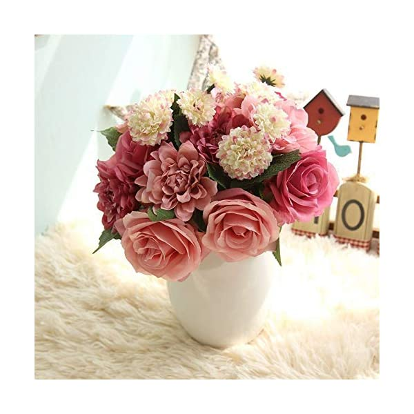 Dorime Flor de Seda de la Boda del Ramo de Rosas, dalias Artificiales Flores de otoño VividLeaf Boda Flores Ramos de…