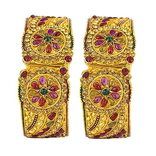 SataanReaper Presents Bangle Gold Plated American Diamond Studded Antique American Diamond Gold Plated Kada Bangle Set Jewellery For Women/Girls #SR-5144