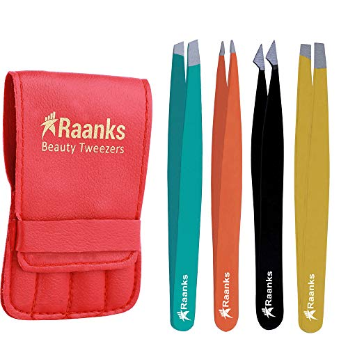 RAANKS Professional Eyebrow Tweezers Set Stainless Steel Best Precision Tweezer for Eyebrows Plucking, Facial Hair and Blackhead Ingrown Hair Remover, Daily Beauty Tool for Women (4P Multi Color)