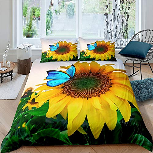 Tbrand Kids Sunflower Duvet Cover Blue Butterfly Bedding Set, Yellow Blooming Floral Comforter Cover Set Single Size for Boys Girls Teens Youth Women Home Decor, Nursery Garden Theme Bedspread Cover
