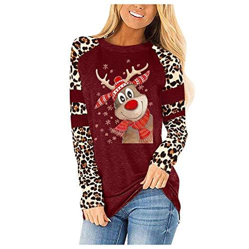 HJFR 2021 - Camiseta de manga larga para mujer, informal, cuello redondo, estampado de ciervos y mangas de leopardo Vin14 XL