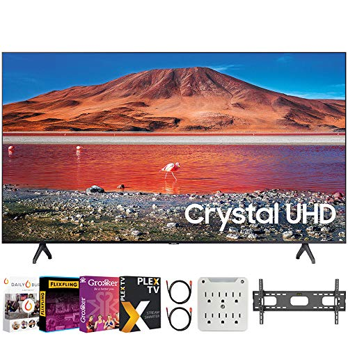 """SAMSUNG UN65TU7000 65"""" 4K Ultra HD Smart LED TV (2020 Model) Bundle with Premiere Movies Streaming 2020 + 30-70 Inch TV Wall Mount + 6-Outlet Surge Adapter + 2X 6FT 4K HDMI 2.0 Cable"""