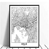wzgsffs Oslo Schwarz Weiß Welt Stadtplan Poster Drucke