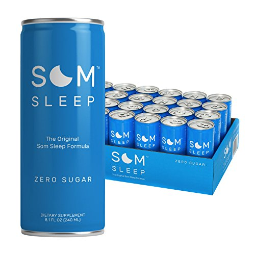 Som Sleep, The Original Sleep Support Formula w/ Melatonin, Magnesium, Vitamin B6, L-Theanine & GABA – Non-GMO, Vegan, Gluten-Free Sleep Aid Drink Supplement – Zero Sugar, 8.1 Fl Oz, 24-Pack