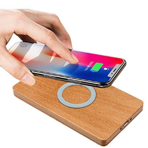 Grain de bois Apple sans fil Charge, Mamum station de recharge sans fil Qi Chargeur sans fil Pad de chargement pour iPhone 8/8 Plus/X Taille unique blanc
