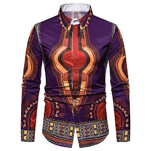 DressUMen 3d digital africana de impresión Manga larga camisa de dashiki para Hombres Púrpura Pequeño
