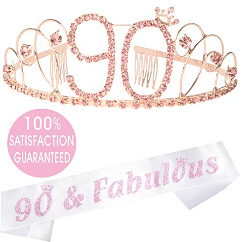 90th Birthday Gifts for Women, 90th Birthday Tiara and Sash, Appy 90th Birthday Party Supplies, 90 and Fabulous Pink White Glitter Satin Sash and Crystal Tiara Crown, 90th Birthday Party Decorations