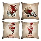 Beydodo 4 Fundas de Cojin Fundas Cojines Sofa 40X40 Papá Noel con Bicicleta Marrón Rojo