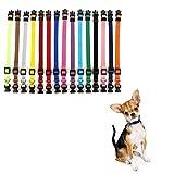 Lomylm Lot de 15 colliers réglables pour chiots et petits chiens de 17,5 cm à 26 cm, en nylon, de nouveau-né à 10 semaines, 15 couleurs